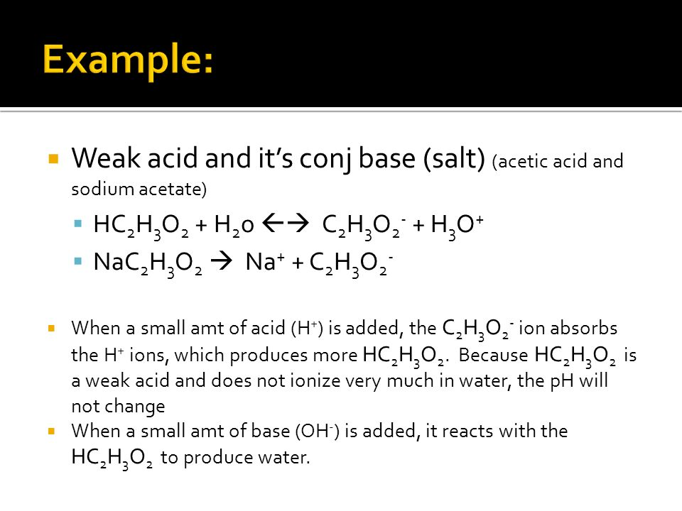 Weak acid and its conj base (salt) (acetic acid and sodium acetate) HC 2 H 3 O 2 + H 2 o C 2 H 3 O 2 - + H 3 O + NaC 2 H 3 O 2 Na + + C 2 H 3 O 2 - Wh
