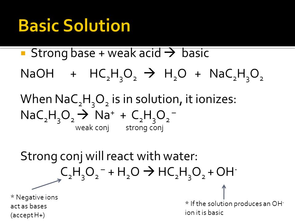 Strong base + weak acid basic NaOH + HC 2 H 3 O 2 H 2 O + NaC 2 H 3 O 2 When NaC 2 H 3 O 2 is in solution, it ionizes: NaC 2 H 3 O 2 Na + + C 2 H 3 O 2 – weak conj strong conj Strong conj will react with water: C 2 H 3 O 2 – + H 2 O HC 2 H 3 O 2 + OH - * Negative ions act as bases (accept H+) * If the solution produces an OH - ion it is basic