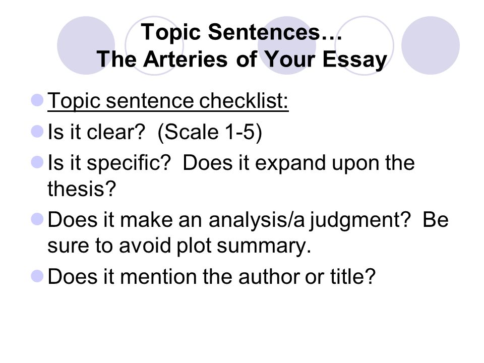 Topic Sentences… The Arteries of Your Essay Topic sentence checklist: Is it clear.