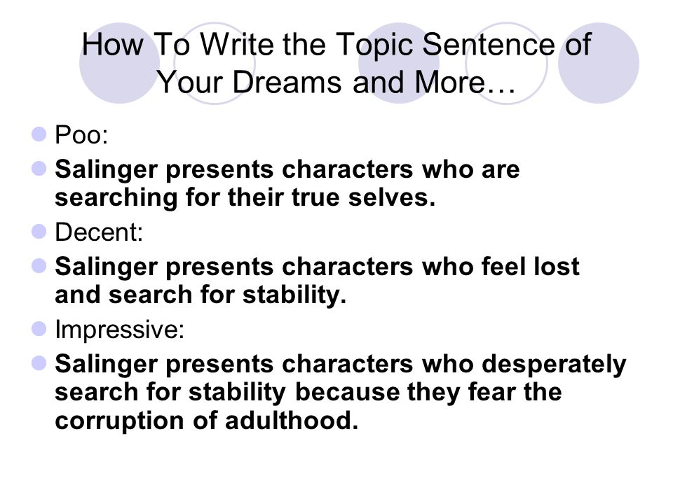 How To Write the Topic Sentence of Your Dreams and More… Poo: Salinger presents characters who are searching for their true selves.