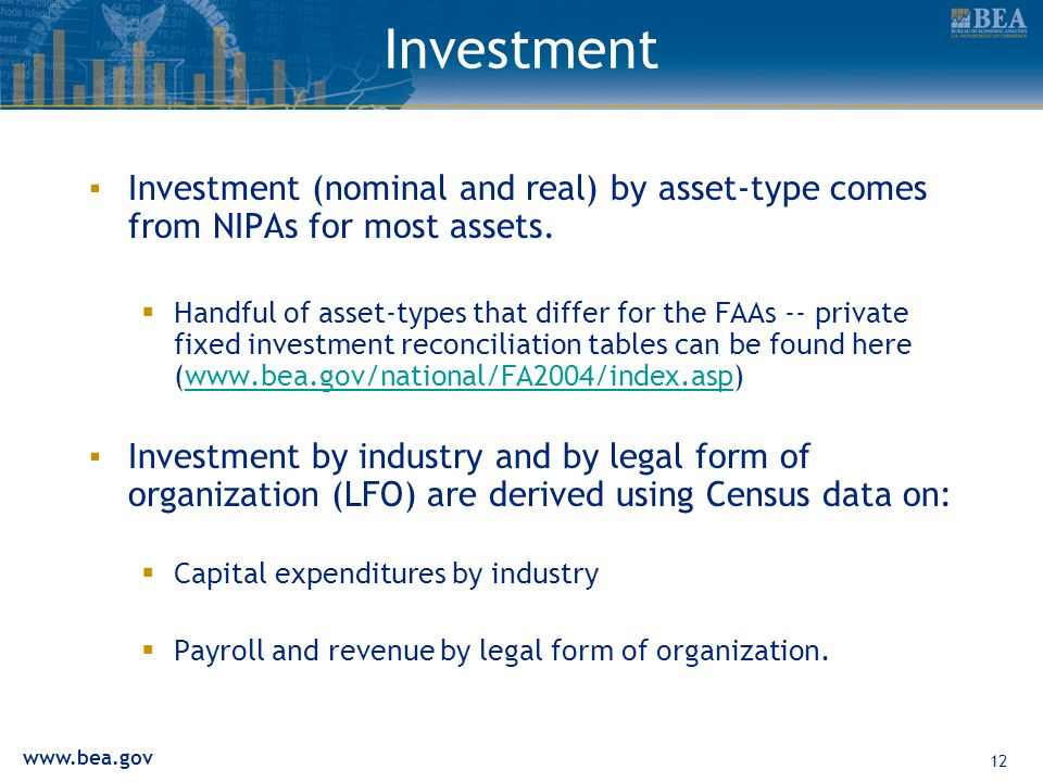 12 Investment Investment (nominal and real) by asset-type comes from NIPAs for most assets.