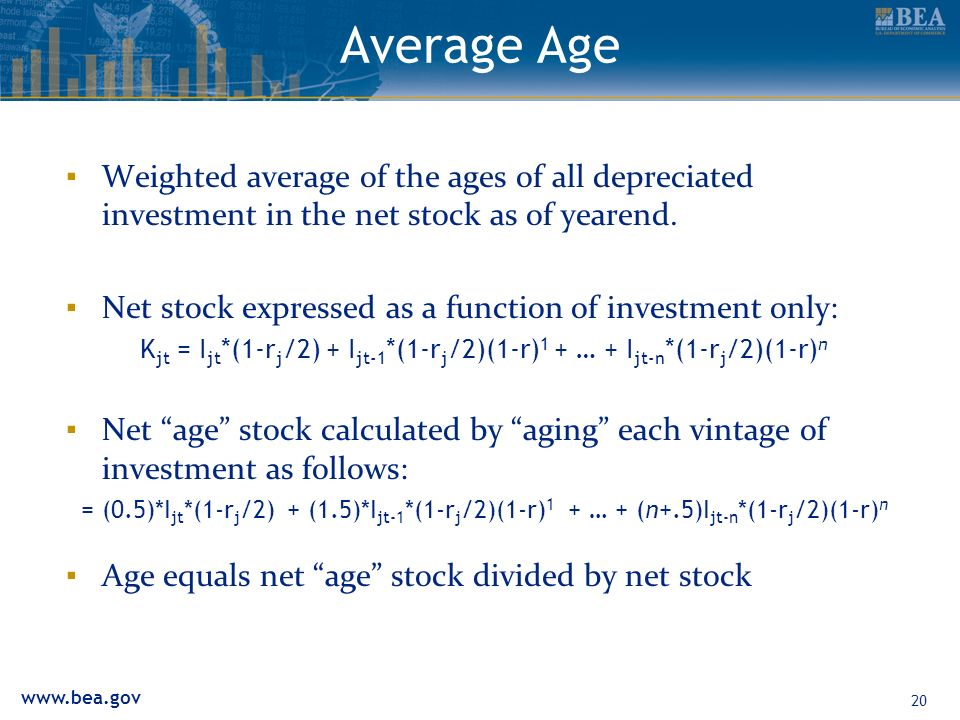 20 Average Age Weighted average of the ages of all depreciated investment in the net stock as of yearend.