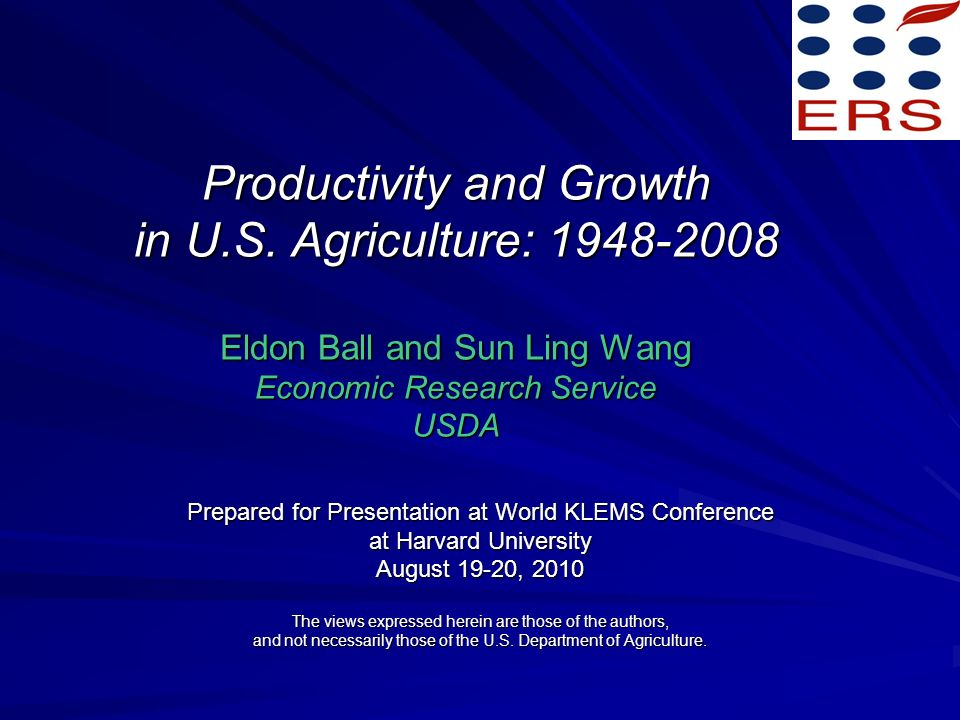 Productivity and Growth in U.S.