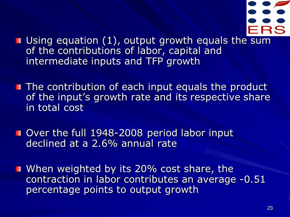 23 Using equation (1), output growth equals the sum of the contributions of labor, capital and intermediate inputs and TFP growth The contribution of each input equals the product of the inputs growth rate and its respective share in total cost Over the full 1948-2008 period labor input declined at a 2.6% annual rate When weighted by its 20% cost share, the contraction in labor contributes an average -0.51 percentage points to output growth