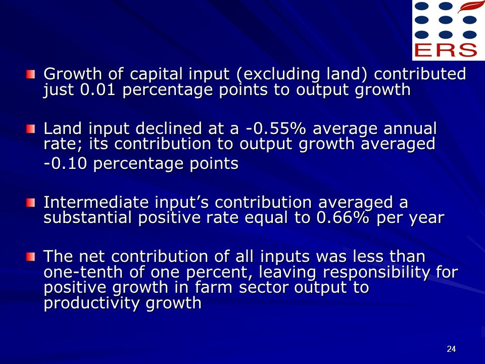 24 Growth of capital input (excluding land) contributed just 0.01 percentage points to output growth Land input declined at a -0.55% average annual rate; its contribution to output growth averaged -0.10 percentage points Intermediate inputs contribution averaged a substantial positive rate equal to 0.66% per year The net contribution of all inputs was less than one-tenth of one percent, leaving responsibility for positive growth in farm sector output to productivity growth