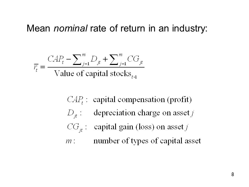 Mean nominal rate of return in an industry: 8