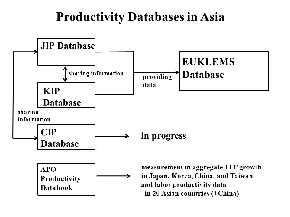 Productivity Databases in Asia JIP Database KIP Database CIP Database APO Productivity Databook EUKLEMS Database in progress measurement in aggregate