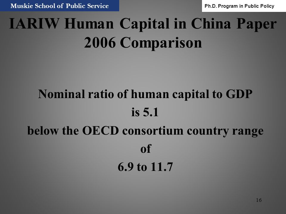 16 IARIW Human Capital in China Paper 2006 Comparison Nominal ratio of human capital to GDP is 5.1 below the OECD consortium country range of 6.9 to 1