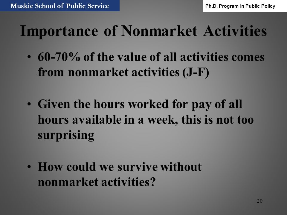 20 Importance of Nonmarket Activities 60-70% of the value of all activities comes from nonmarket activities (J-F) Given the hours worked for pay of al