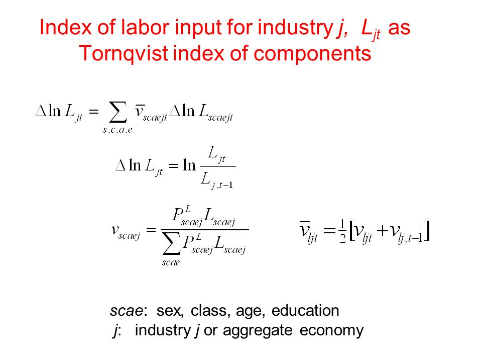Index of labor input for industry j, L jt as Tornqvist index of components scae: sex, class, age, education j: industry j or aggregate economy