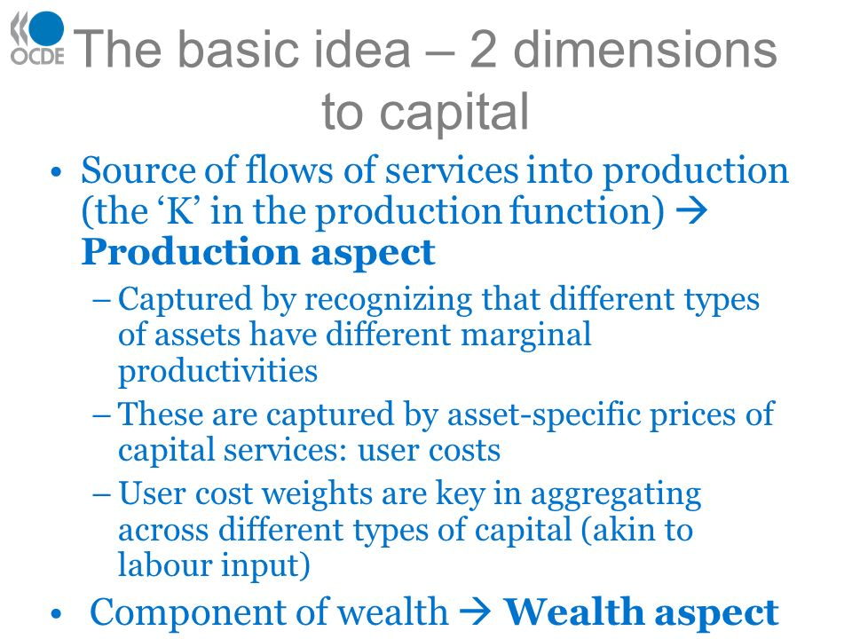 The basic idea – 2 dimensions to capital Source of flows of services into production (the K in the production function) Production aspect –Captured by recognizing that different types of assets have different marginal productivities –These are captured by asset-specific prices of capital services: user costs –User cost weights are key in aggregating across different types of capital (akin to labour input) Component of wealth Wealth aspect