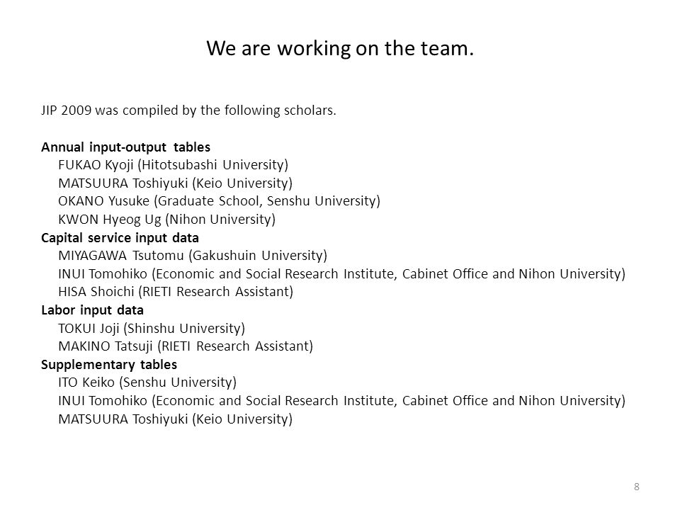 We are working on the team. JIP 2009 was compiled by the following scholars.