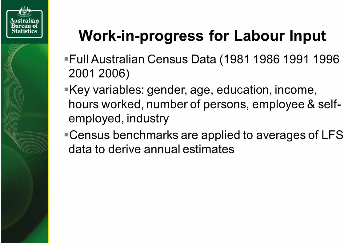Work-in-progress for Labour Input Full Australian Census Data (1981 1986 1991 1996 2001 2006) Key variables: gender, age, education, income, hours worked, number of persons, employee & self- employed, industry Census benchmarks are applied to averages of LFS data to derive annual estimates