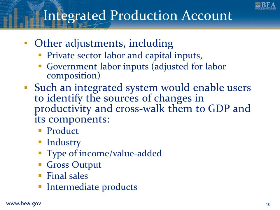 www.bea.gov 10 Integrated Production Account Other adjustments, including Private sector labor and capital inputs, Government labor inputs (adjusted f