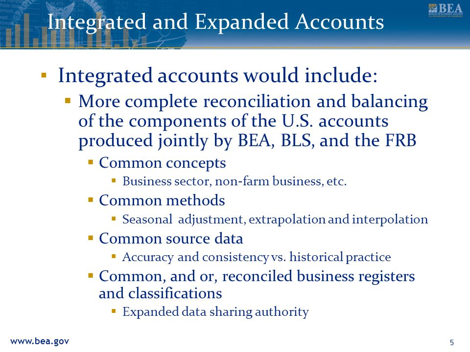 5 Integrated and Expanded Accounts Integrated accounts would include: More complete reconciliation and balancing of the components of the U.S.