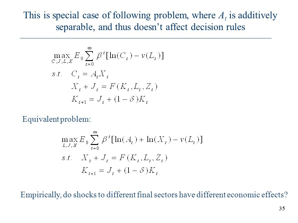 35 This is special case of following problem, where A t is additively separable, and thus doesnt affect decision rules Equivalent problem: Empirically