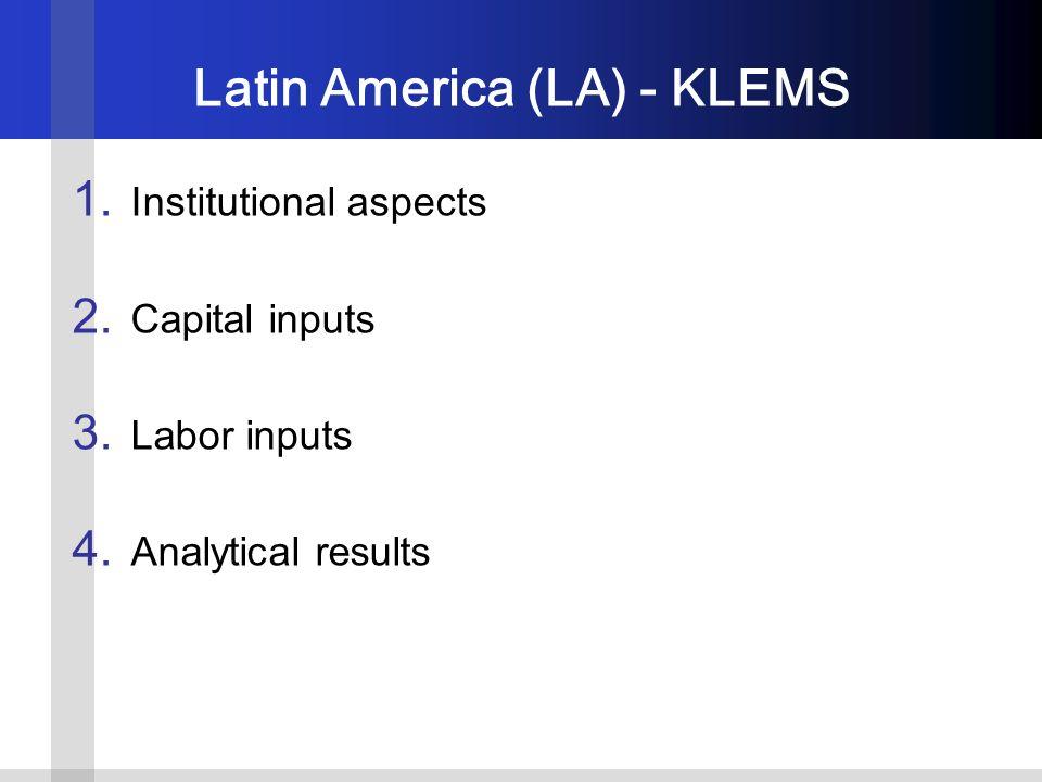 Latin America (LA) - KLEMS 1. Institutional aspects 2.
