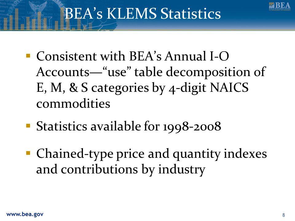 www.bea.gov 9 BEAs KLEMS Statistics Data for 2008