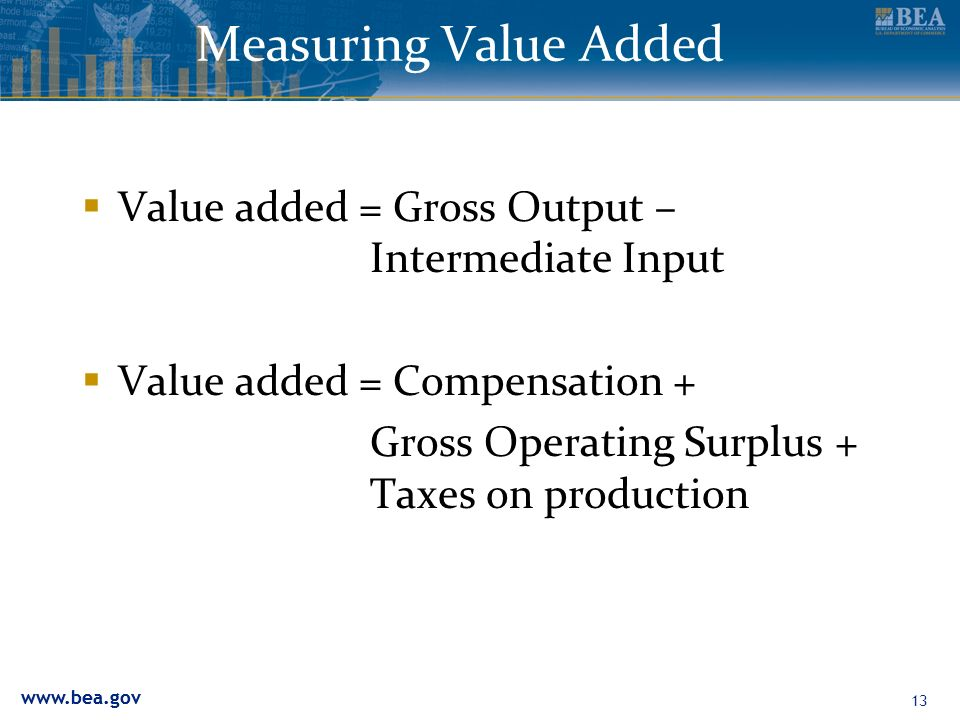 13 Measuring Value Added Value added = Gross Output – Intermediate Input Value added = Compensation + Gross Operating Surplus + Taxes on production