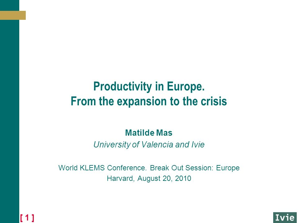 [ 1 ] Productivity in Europe.