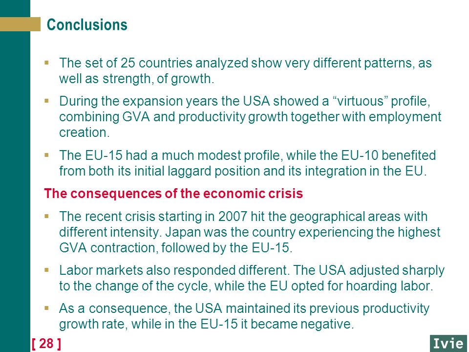 [ 28 ] Conclusions The set of 25 countries analyzed show very different patterns, as well as strength, of growth.