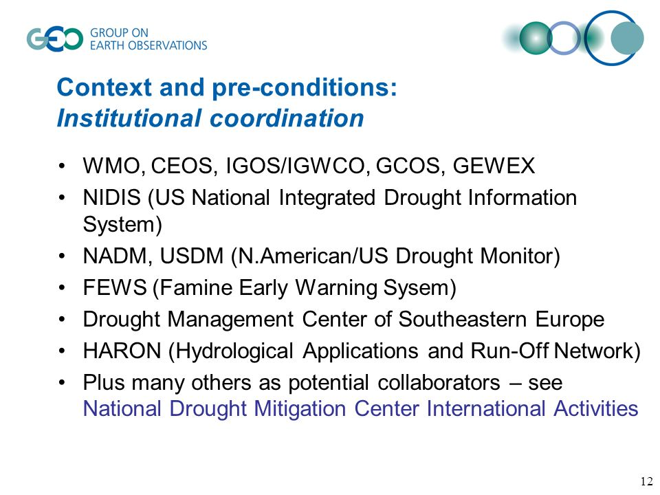 Context and pre-conditions: Institutional coordination WMO, CEOS, IGOS/IGWCO, GCOS, GEWEX NIDIS (US National Integrated Drought Information System) NA