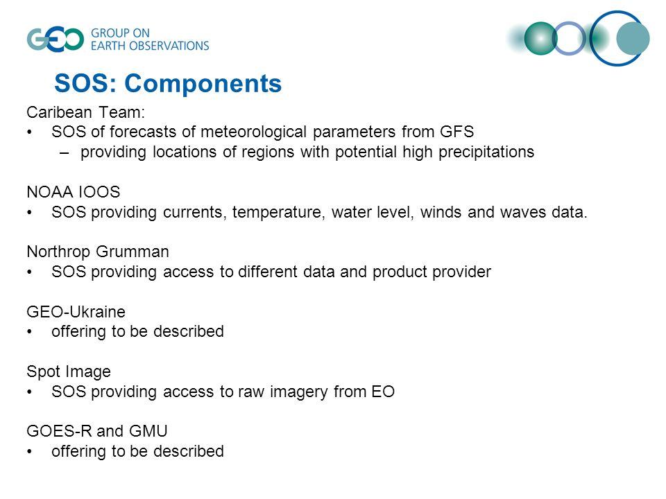 SOS: Components Caribean Team: SOS of forecasts of meteorological parameters from GFS –providing locations of regions with potential high precipitatio