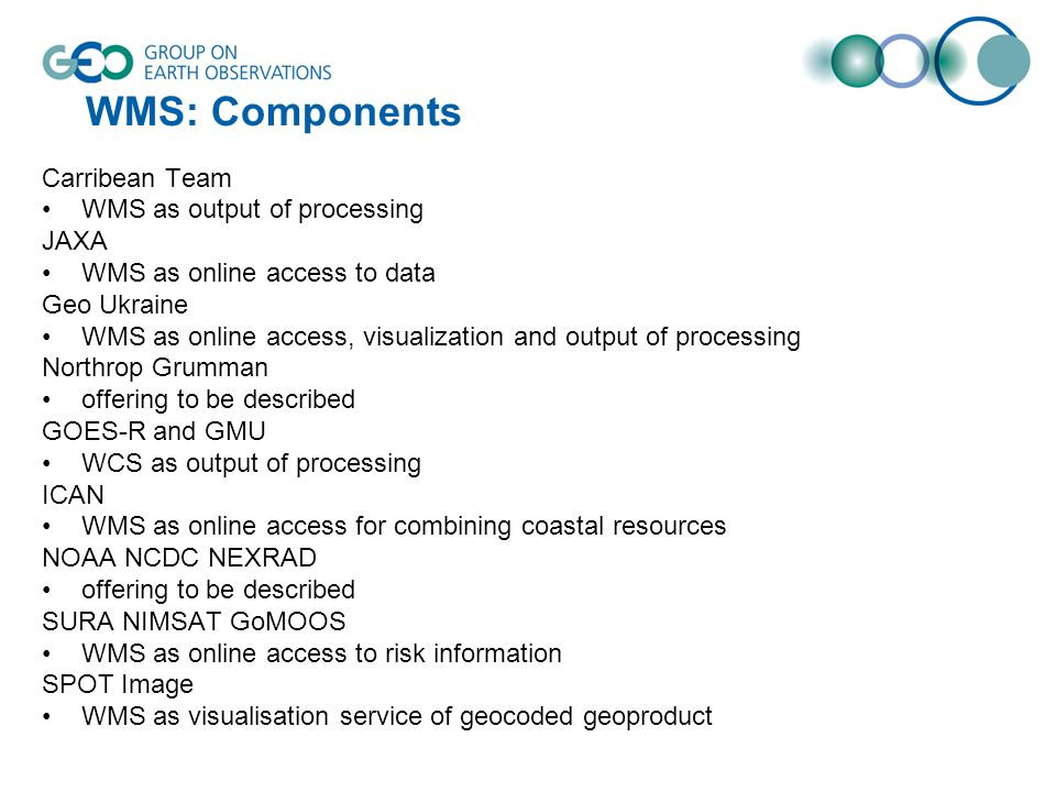 WMS: Components Carribean Team WMS as output of processing JAXA WMS as online access to data Geo Ukraine WMS as online access, visualization and outpu