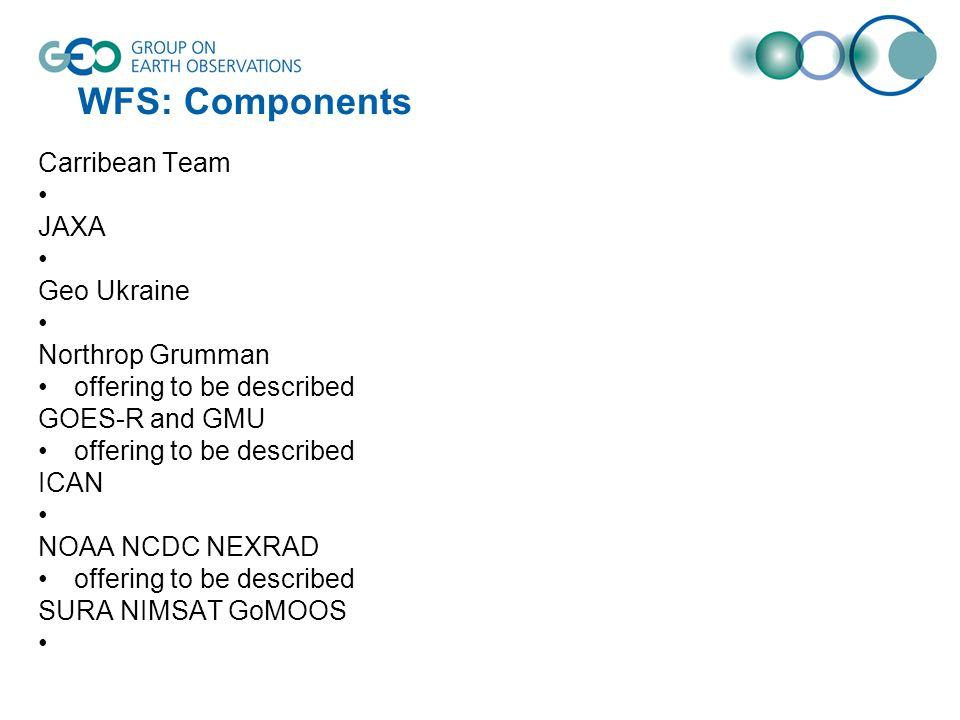WFS: Components Carribean Team JAXA Geo Ukraine Northrop Grumman offering to be described GOES-R and GMU offering to be described ICAN NOAA NCDC NEXRAD offering to be described SURA NIMSAT GoMOOS