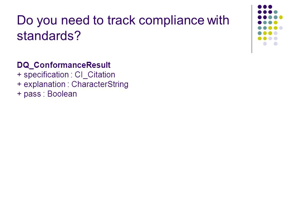 Do you need to track compliance with standards.
