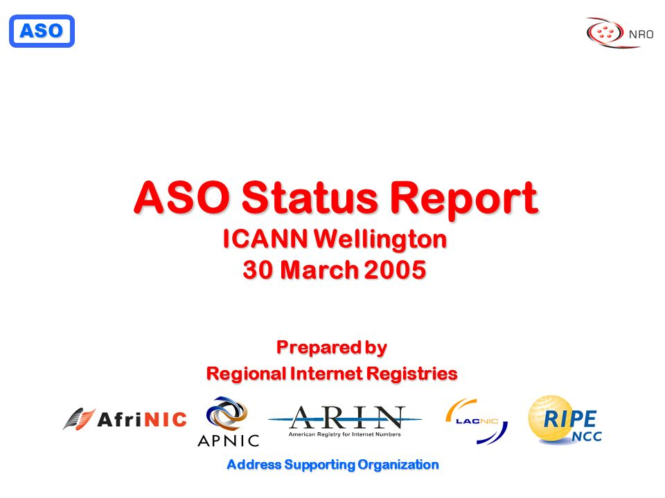 ASO Address Supporting Organization ASO Status Report ICANN Wellington 30 March 2005 Prepared by Regional Internet Registries