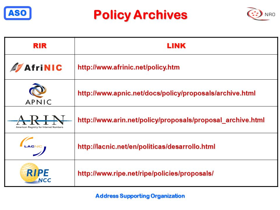 ASO Address Supporting Organization Policy Archives RIRLINK