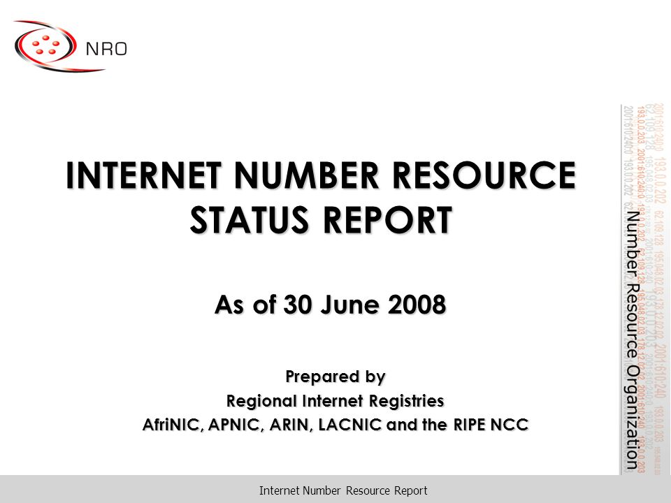 INTERNET NUMBER RESOURCE STATUS REPORT As of 30 June 2008