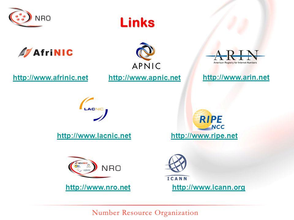 Links http://www.afrinic.nethttp://www.apnic.net http://www.arin.net http://www.lacnic.nethttp://www.ripe.net http://www.nro.nethttp://www.icann.org