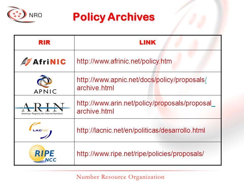 Policy Archives RIRLINK http://www.afrinic.net/policy.htm http://www.apnic.net/docs/policy/proposals// archive.html http://www.arin.net/policy/proposals/proposal__ archive.html http://lacnic.net/en/politicas/desarrollo.html http://www.ripe.net/ripe/policies/proposals/