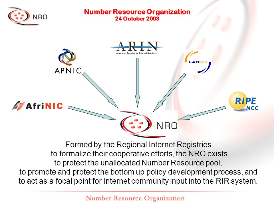 Formed by the Regional Internet Registries to formalize their cooperative efforts, the NRO exists to protect the unallocated Number Resource pool, to