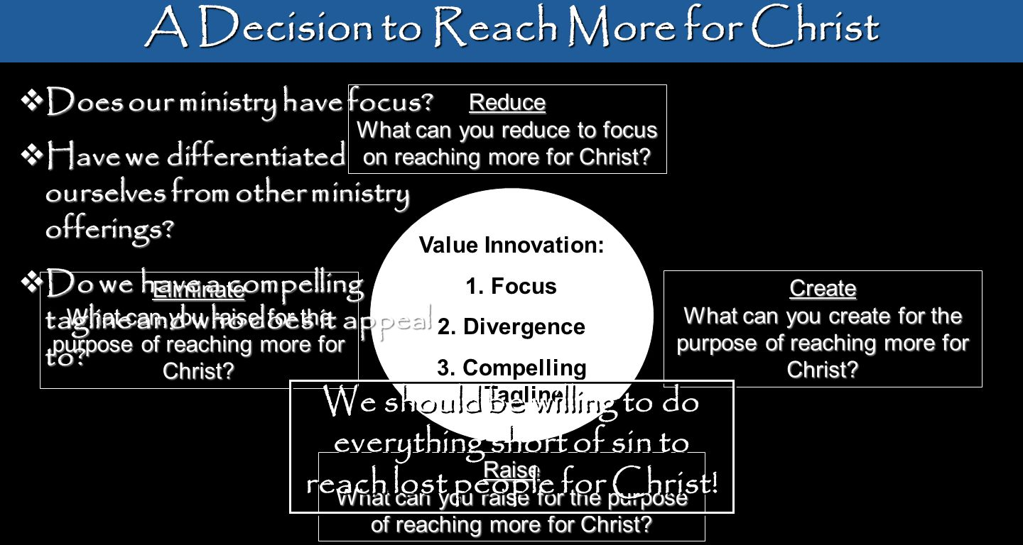A Decision to Reach More for Christ Reduce What can you reduce to focus on reaching more for Christ? Raise What can you raise for the purpose of reach