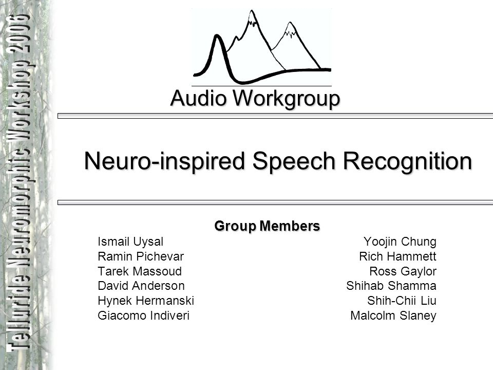 Audio Workgroup Neuro-inspired Speech Recognition Group Members Ismail UysalYoojin Chung Ramin Pichevar Rich Hammett Tarek Massoud Ross Gaylor David A