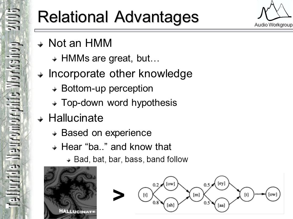 Audio Workgroup Relational Advantages Not an HMM HMMs are great, but… Incorporate other knowledge Bottom-up perception Top-down word hypothesis Halluc