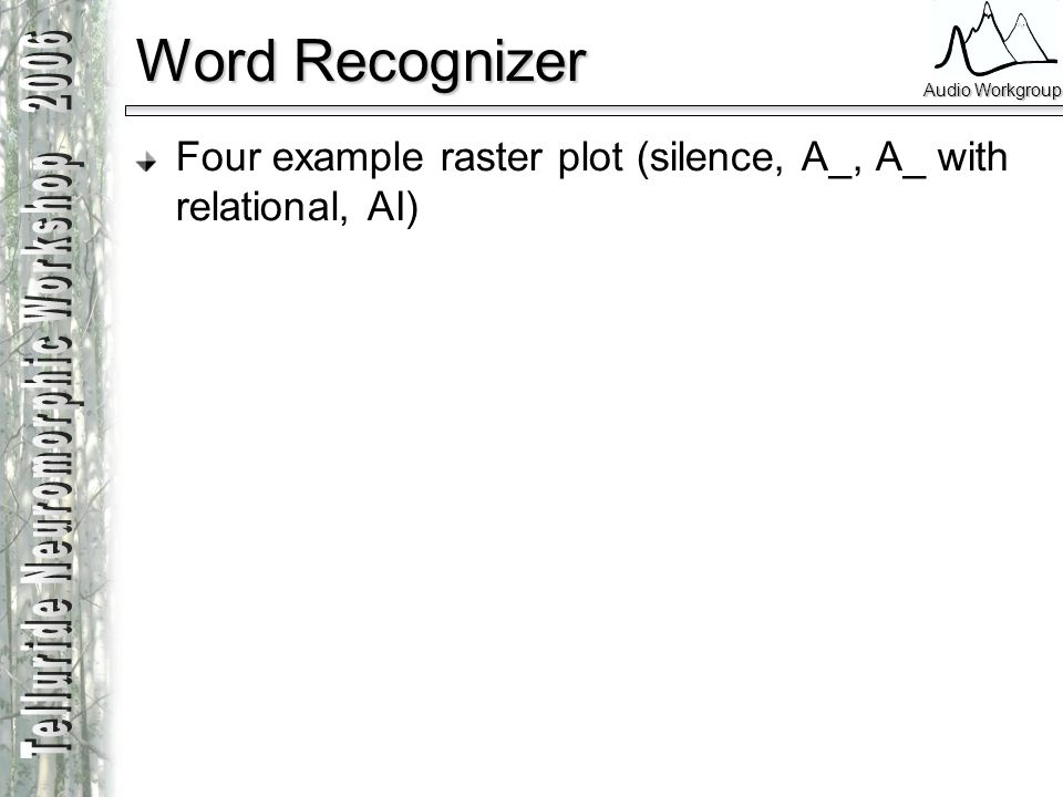 Audio Workgroup Word Recognizer Four example raster plot (silence, A_, A_ with relational, AI)