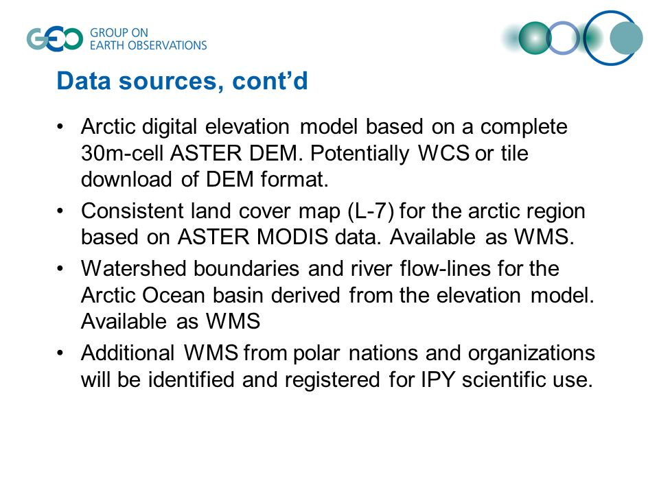 Data sources, contd Arctic digital elevation model based on a complete 30m-cell ASTER DEM.