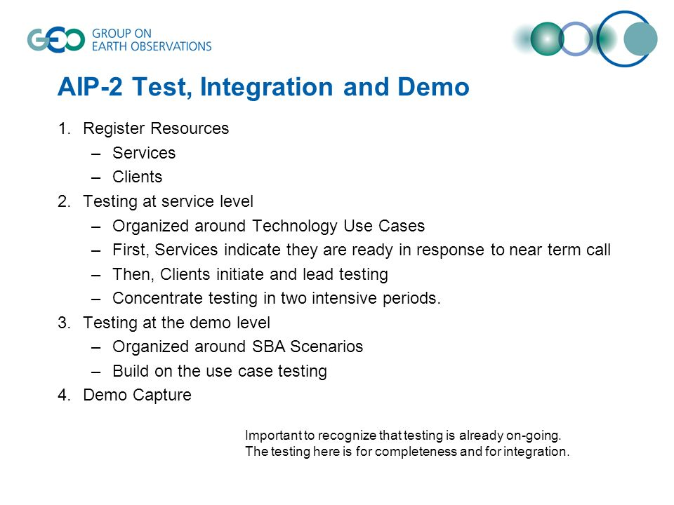 AIP-2 Test, Integration and Demo 1.Register Resources –Services –Clients 2.Testing at service level –Organized around Technology Use Cases –First, Ser