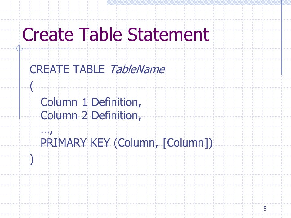 5 Create Table Statement CREATE TABLE TableName ( Column 1 Definition, Column 2 Definition, …, PRIMARY KEY (Column, [Column]) )