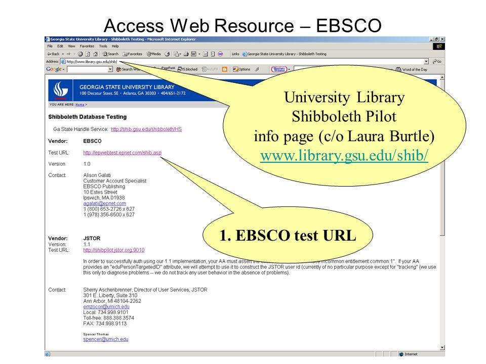 Access Web Resource – EBSCO University Library Shibboleth Pilot info page (c/o Laura Burtle) www.library.gsu.edu/shib/ 1. EBSCO test URL