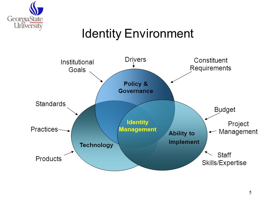 5 Identity Environment Standards Practices Products Technology Institutional Goals Constituent Requirements Drivers Policy & Governance Project Manage