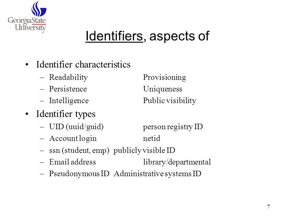 7 Identifiers, aspects of Identifier characteristics –ReadabilityProvisioning –PersistenceUniqueness –IntelligencePublic visibility Identifier types –