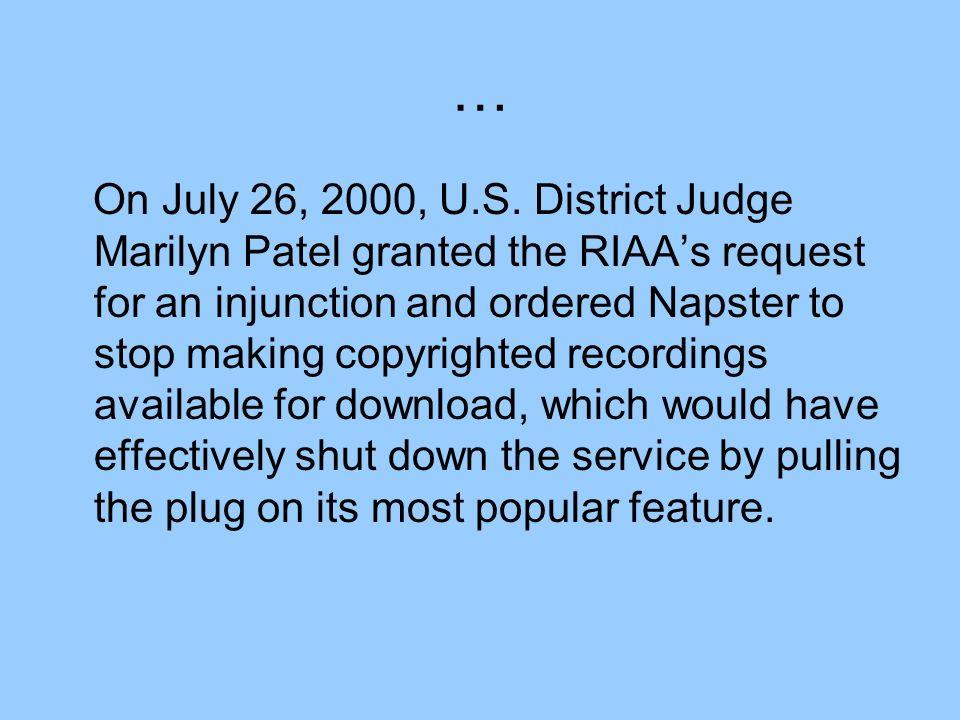 … On July 26, 2000, U.S.