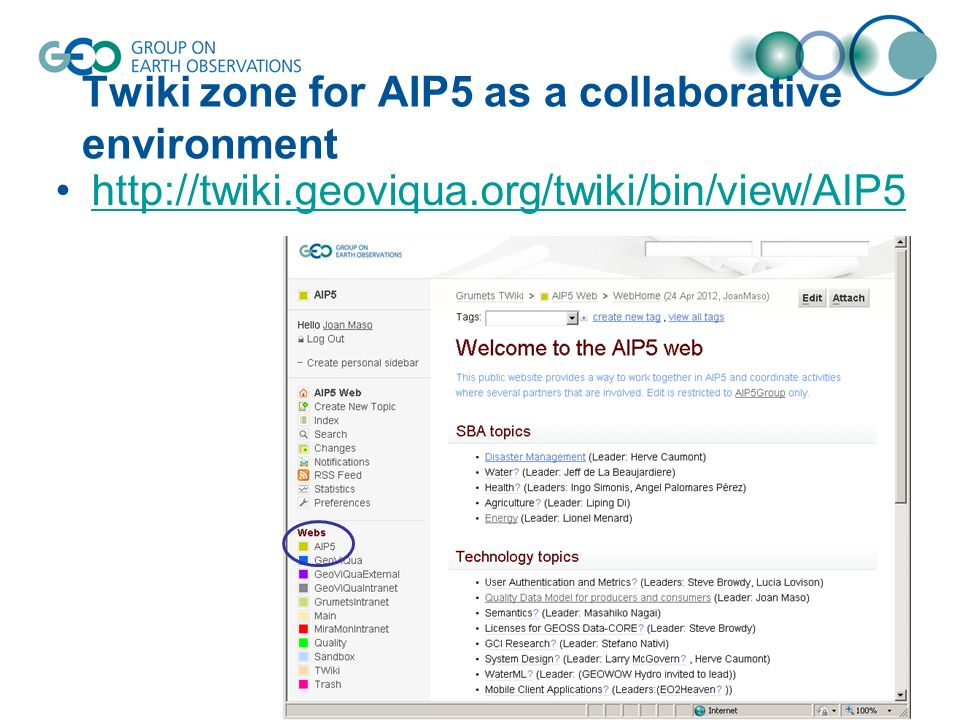 Twiki zone for AIP5 as a collaborative environment http://twiki.geoviqua.org/twiki/bin/view/AIP5