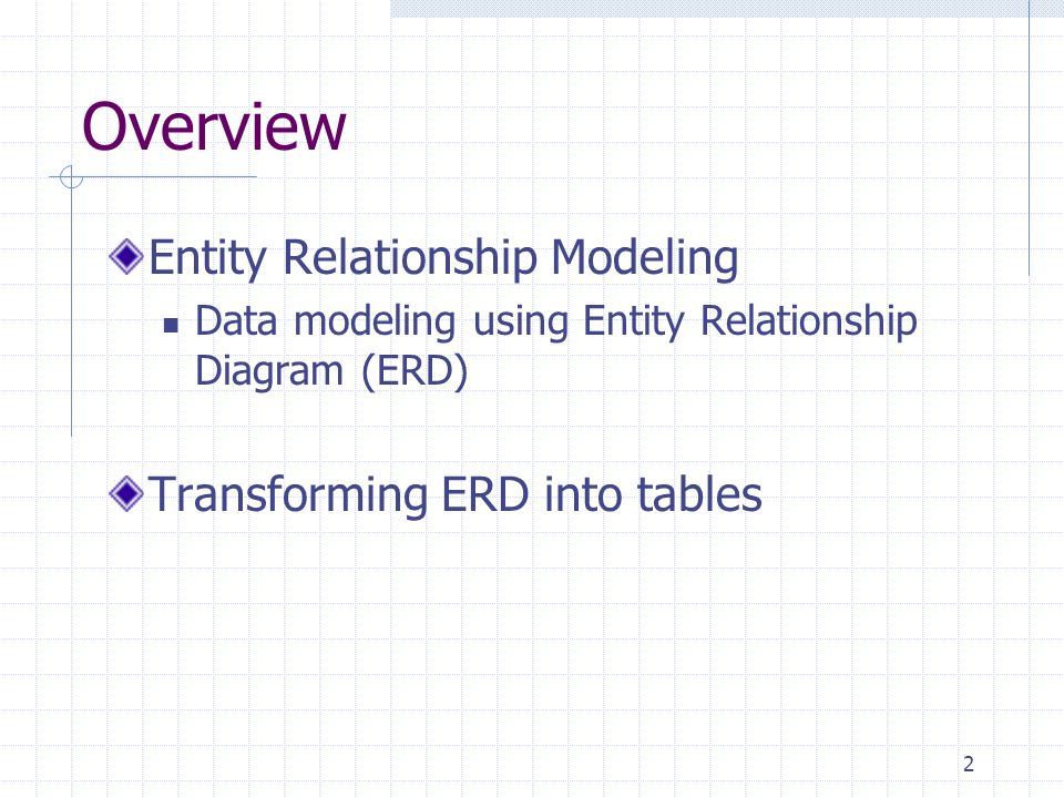 2 Overview Entity Relationship Modeling Data modeling using Entity Relationship Diagram (ERD) Transforming ERD into tables