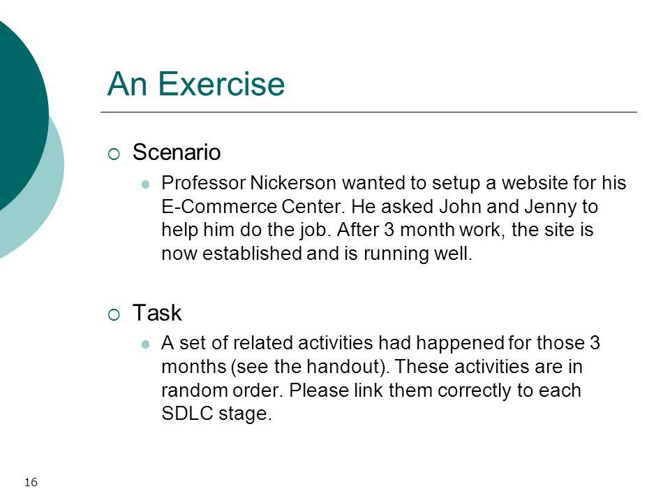 16 An Exercise Scenario Professor Nickerson wanted to setup a website for his E-Commerce Center.